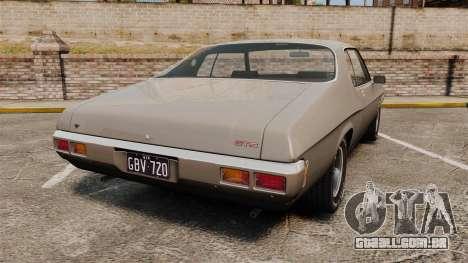 Holden Monaro GTS 1971 para GTA 4 traseira esquerda vista