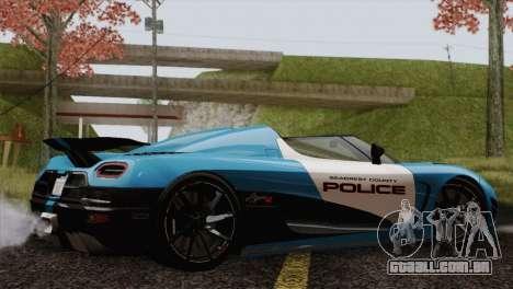 Koenigsegg Agera R para GTA San Andreas traseira esquerda vista