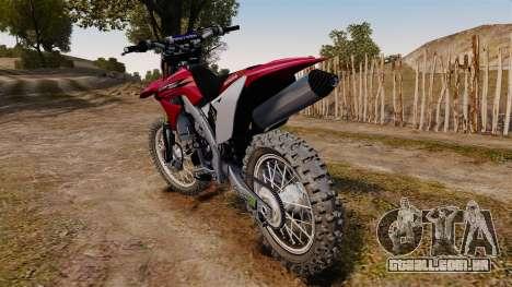 Kawasaki KX250F (Honda) para GTA 4 traseira esquerda vista