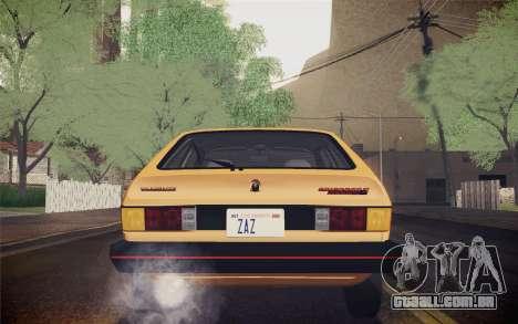 Volkswagen Scirocco S (Typ 53) 1981 IVF para GTA San Andreas vista inferior