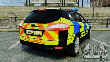Ford Mondeo Estate Police Dog Unit [ELS] para GTA 4 traseira esquerda vista
