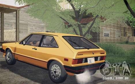 Volkswagen Scirocco S (Typ 53) 1981 IVF para GTA San Andreas traseira esquerda vista
