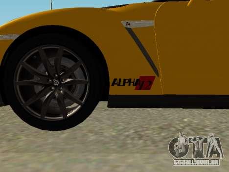 Nissan GT-R AMS Alpha 12 para GTA San Andreas traseira esquerda vista