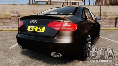 Audi S4 Unmarked Police [ELS] para GTA 4 traseira esquerda vista