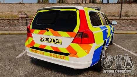 Volvo V70 South Wales Police [ELS] para GTA 4 traseira esquerda vista