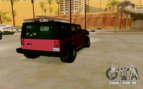 GTA V Mesa para GTA San Andreas traseira esquerda vista