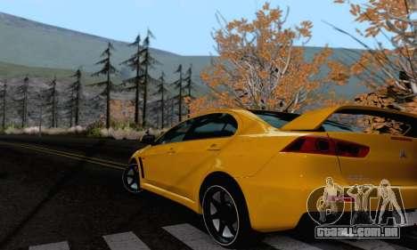 Mitsubishi Lancer X Evolution para GTA San Andreas traseira esquerda vista