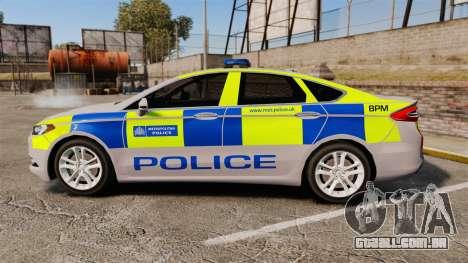 Ford Mondeo 2014 Metropolitan Police [ELS] para GTA 4 esquerda vista