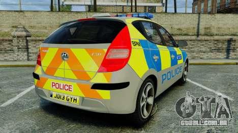 Hyundai i30 Metropolitan Police [ELS] para GTA 4 traseira esquerda vista
