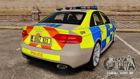 Audi S4 ANPR Interceptor [ELS] para GTA 4 traseira esquerda vista