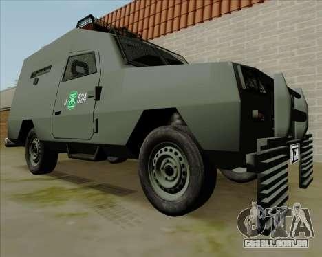 Zorrillo FF.EE para GTA San Andreas traseira esquerda vista