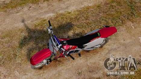 Kawasaki KX250F (Honda) para GTA 4 vista direita