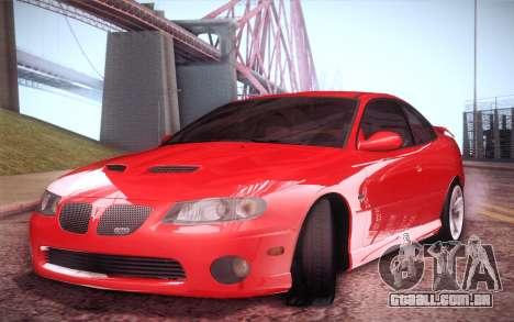 Pontiac GTO 2005 para GTA San Andreas traseira esquerda vista