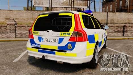 Volvo V70 II Swedish Police [ELS] para GTA 4 traseira esquerda vista