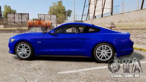 Ford Mustang GT 2015 Stock para GTA 4 esquerda vista