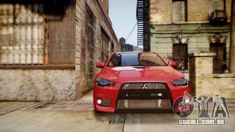 Mitsubishi Lancer Evolution X 2009 v1.3 para GTA 4 vista direita
