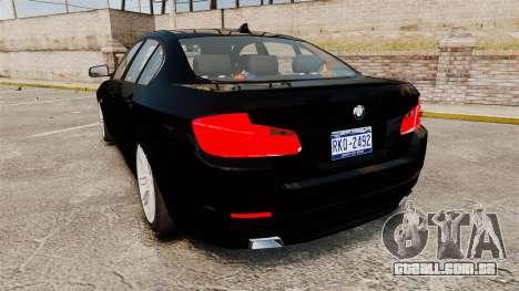 BMW M5 F10 2012 Unmarked Police [ELS] para GTA 4 traseira esquerda vista