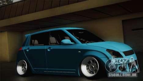 Suzuki Swift Hellaflush para GTA San Andreas traseira esquerda vista
