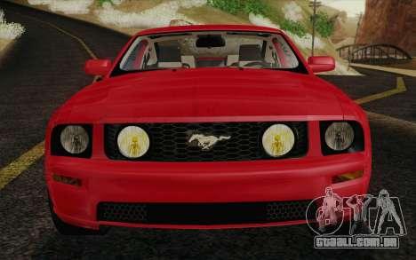 Ford Mustang GT 2005 para GTA San Andreas vista inferior