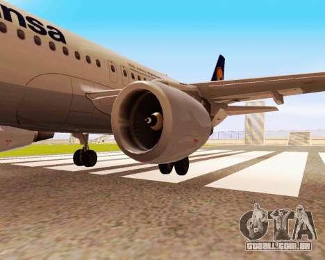 Airbus A320-200 Lufthansa para GTA San Andreas traseira esquerda vista