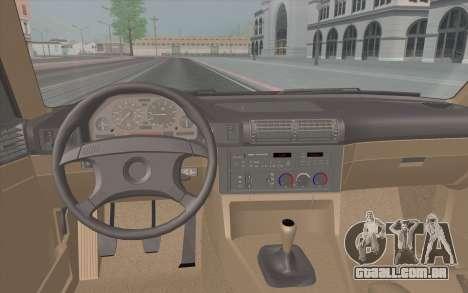 BMW M5 E34 1991 NA-spec para GTA San Andreas vista interior