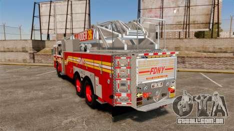 Ferrara 100 Aerial Ladder FDNY [working ladder] para GTA 4 traseira esquerda vista