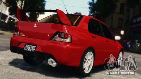 Mitsubishi Lancer Evolution IX para GTA 4 vista de volta