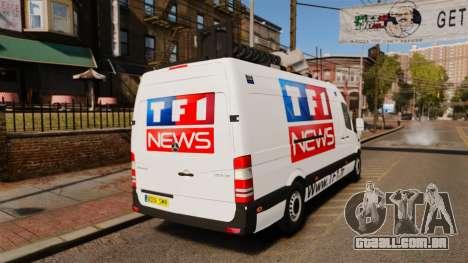 Mercedes-Benz Sprinter TF1 News [ELS] para GTA 4 traseira esquerda vista