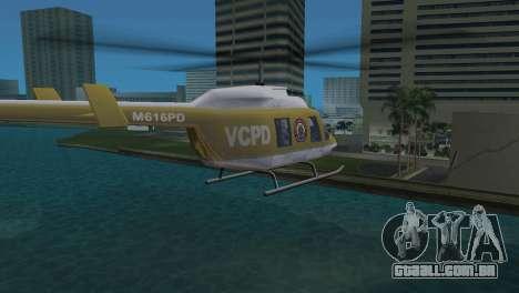 Helicóptero da polícia do GTA VCS para GTA Vice City vista traseira esquerda