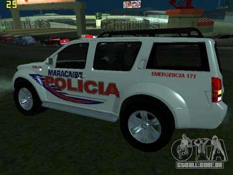 Nissan Pathfinder Polimaracaibo para GTA San Andreas traseira esquerda vista