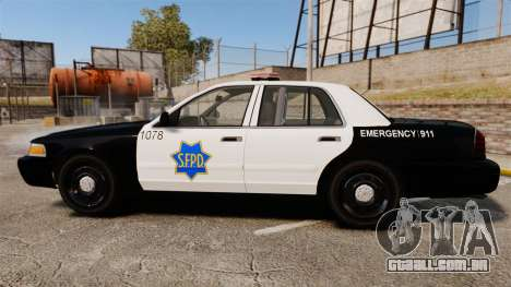 Ford Crown Victoria San Francisco Police [ELS] para GTA 4 esquerda vista