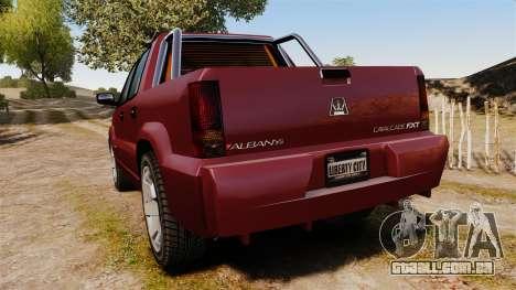 GTA V Albany Cavalcade FXT para GTA 4 traseira esquerda vista
