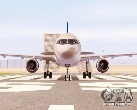 A Airbus A320-200 Donbassaero para GTA San Andreas vista traseira
