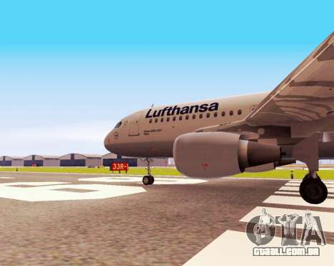 Airbus A320-200 Lufthansa para GTA San Andreas vista direita