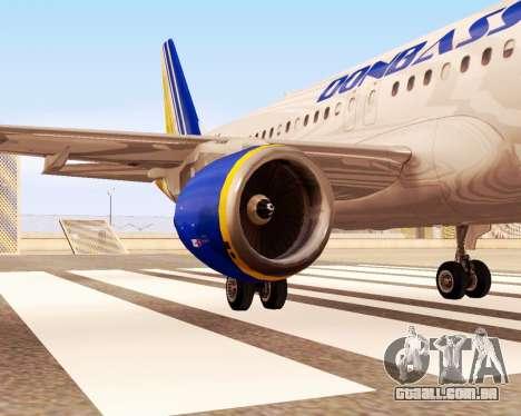 A Airbus A320-200 Donbassaero para GTA San Andreas vista direita