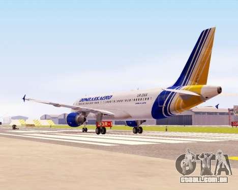 A Airbus A320-200 Donbassaero para GTA San Andreas traseira esquerda vista