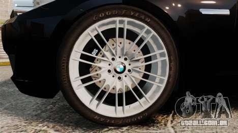 BMW M5 F10 2012 Unmarked Police [ELS] para GTA 4 vista de volta