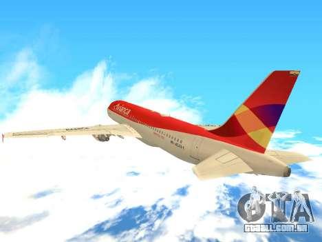 Airbus A320 Avianca Columbia para GTA San Andreas vista traseira