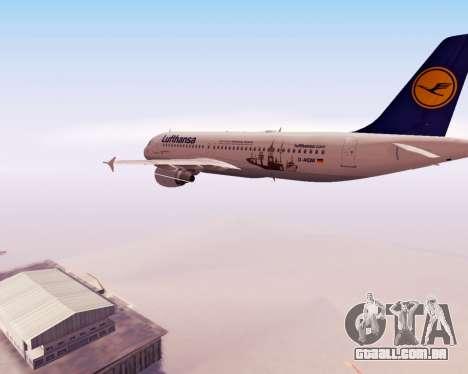 Airbus A320-200 Lufthansa para GTA San Andreas vista superior