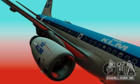 Airbus A319 KLM para GTA San Andreas vista interior