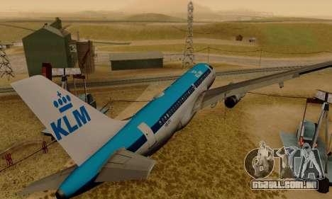 Airbus A319 KLM para GTA San Andreas vista direita