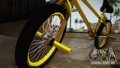 New BMX Yellow para GTA San Andreas traseira esquerda vista