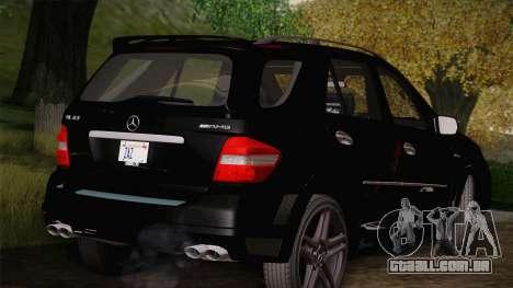 Mercedes-Benz ML63 para GTA San Andreas traseira esquerda vista