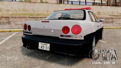 Nissan Skyline ER34 Police para GTA 4 traseira esquerda vista