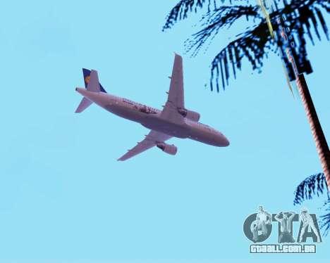 Airbus A320-200 Lufthansa para GTA San Andreas vista inferior