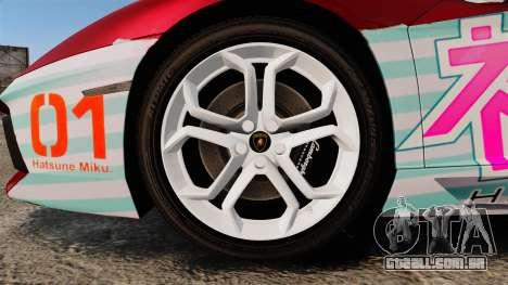Lamborghini Aventador LP700-4 2012 [EPM] Miku 2 para GTA 4 vista de volta