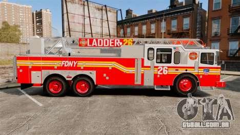 Ferrara 100 Aerial Ladder FDNY [working ladder] para GTA 4 esquerda vista