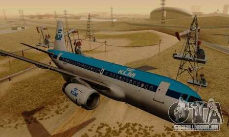 Airbus A319 KLM para GTA San Andreas traseira esquerda vista