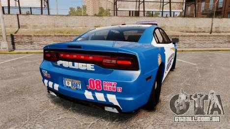 Dodge Charger 2013 Liberty County Police [ELS] para GTA 4 traseira esquerda vista