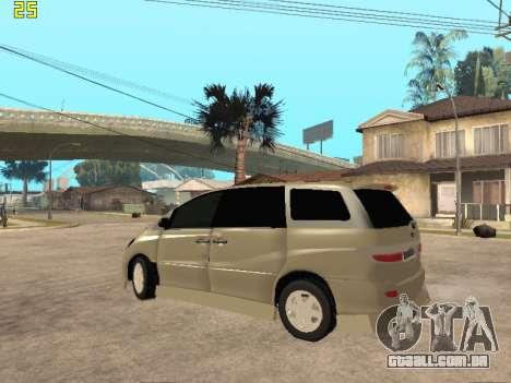 Toyota Estima Altemiss 2wd para GTA San Andreas traseira esquerda vista